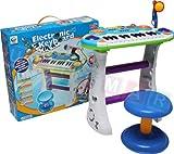 Pianola con Microfono e Sgabello, Tastiera, Keyboard, Strumento musicale per bambini - Blu