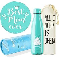 Onebttl Regalos Originales para Madre Mama, Regalos día de la madre, Botella Agua Acero Inoxidable Taza, la Mejor Mamá del Mundo Mundial, Cumpleaños/día de la Madre regalos (500ml)
