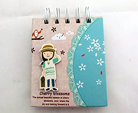 Cherry Blossoms Kawaii Girl Die-cut Embellishments Cover Design - Spiral Bound Small Notebook - Green
