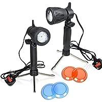 TFJ - Equipo de iluminación portátil para estudio de fotografía, focos de mesa de 12 LED continuos con filtros de gel de color, 2 unidades