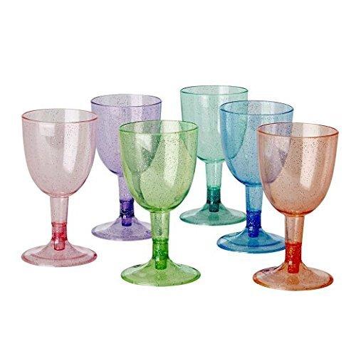 6picnic plástico Copa de vino con purpurina varios colores por arro