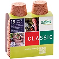18x Macetas redondas de fibra de coco biodegradable Romberg Classic Pots (8cm)