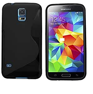 Black S Line Side Grip Gel Silicone Case Skin Cover For Samsung Galaxy S5