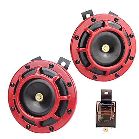 Car Horn Electric 12V 135db Super Loud High Tone and Low Tone Metal Twin Horn Kit with Bracket for Cars Trucks SUVs RVs Vans Motorcycles Off road