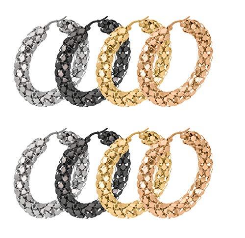 Beglie 4 Paare edelstahl Modeschmuck Ohrringe Runde Kette Form Ohrringe Set Ohrringe Gold und Kette Ohrclip für Damen 2 * 40MM (Stud Ohrringe Knot Love)