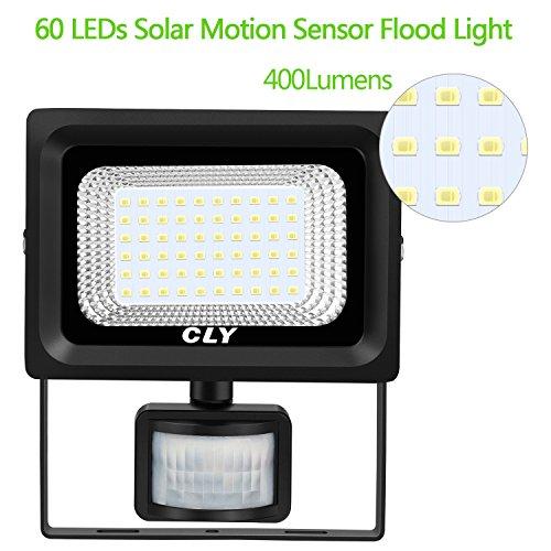 Solar Strahler CLY 60 LED Solarlampe für Außen Solar LED Strahler Solarstrahler mit Bewegungsmelder Solar Bewegungsmelder Aussen IP66 Wasserdicht Super Hell 400LM für Garten,