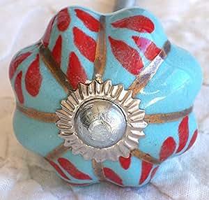bouton de Porte Placard Tiroir Meuble Céramique 3 cm Ø aqua fleur rouge