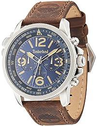 Timberland Campton (hommes de montre à quartz avec cadran bleu affichage analogique et sangle en cuir marron foncé 13910JS/03