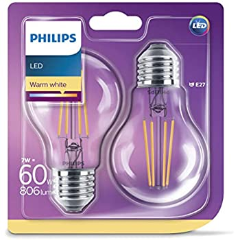Philips pack de 2 bombillas LED estándar de filamento, efecto vintage, casquillo gordo E27, 7 W equivalentes a 60 W en incandescencia, 806 lúmenes, ...