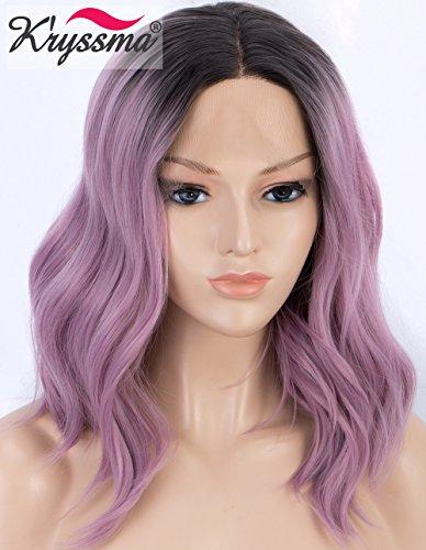K'ryssma Kurzhaarperücke, Bob, Lace-Front, Ombre, violett, gewellt, synthetische Perücke mit dunklen Wurzeln, Mittelteil, fliederfarbene Spitze, für Frauen, hitzebeständig