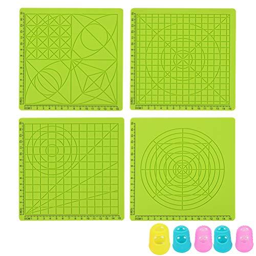 Yardwe 4 Teile/Satz 3D Druck Stift Silikon Matten Kinder Zeichnungsvorlage Pads mit 5 Stück Zufällige Farbe Fingerabdeckungen (Grün)