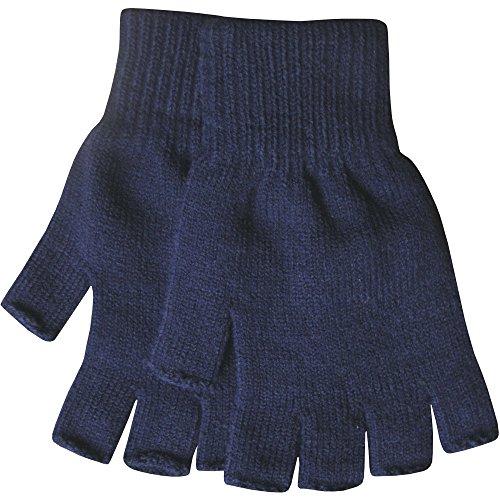 Herren Warm Thermo Strick Fingerlose Winterhandschuhe - Marineblau (Polyester Handschuh Herren)