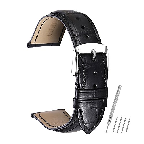 Watch Strap Geniune Band Leather Replacement 18mm 19mm 20mm 21mm 22mm Classic Pin Buckle Black Chimera