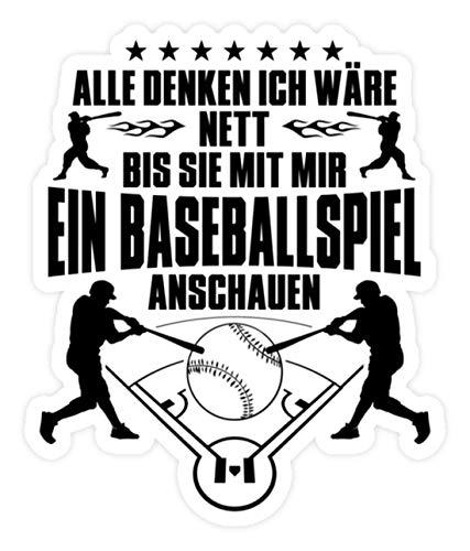 shirt-o-magic Aufkleber Baseball: Nett bis Baseballspiel - Sticker -Einheitsgröße-Weiß -