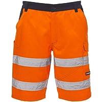 PAYPER Craft Bermuda da Lavoro Uomo Misto Cotone Poliestere Alta visibilità Chiusura Zip Tasche Porta Metro Elastici…