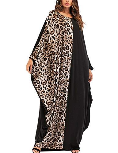 Kleider Damen Abaya Kaftan - Mode Leopard Muster Robe Islamische Kleidung Jalabiya Arabisch Kostüm Langes Kleid Muslim Maxikleid ()