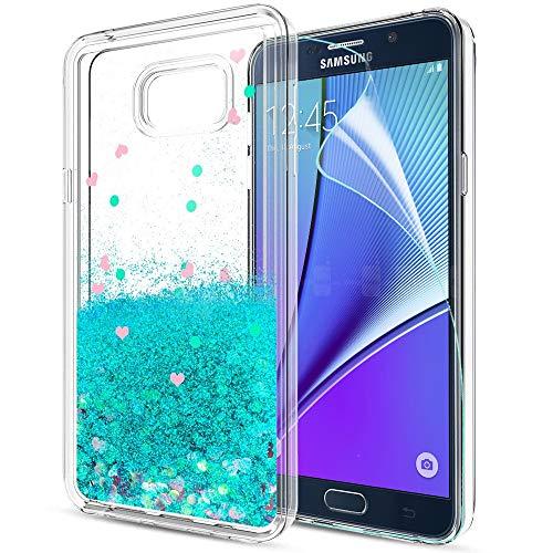 LeYi Hülle Galaxy Note 5 Glitzer Handyhülle mit HD Folie Schutzfolie,Cover TPU Bumper Silikon Treibsand Clear Schutzhülle für Case Samsung Galaxy Note 5 (N920) Handy Hüllen ZX Turquoise