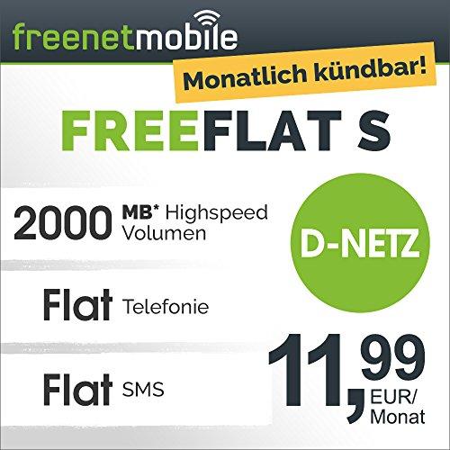 freenetmobile freeFLAT S im D-Netz, 1 Monat Laufzeit (monatlich kündbar), 2GB Internet-Flat mit max. 21 MBit/s, Telefonie- und SMS-Flat in alle deutschen Netze, monatlich nur 11,99 EUR, 25 EUR Bonus bei Rufnummernmitnahme, Triple-Sim-Karten