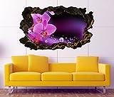 3D Wandtattoo Orchidee Blume lila rosa Wasser Bild selbstklebend Wandbild sticker Wohnzimmer Wand Aufkleber 11H959, Wandbild Größe F:ca. 97cmx57cm