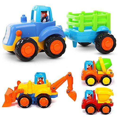 LIVEHITOP 4 Pièce Jouet Voiture Push and Go Véhicules Camion, Tracteurs Bulldozer Camion Mélangeur Dumper Construction, Jouets Éducatif Anniversaire Cadeaux pour Fête des Enfants 2 3 ans