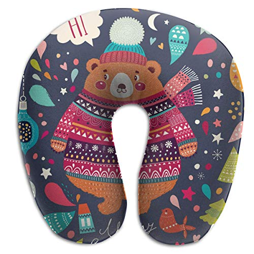 Voxpkrs Memory Foam Neck Pillow Christmas Cute Bear U-Shape Travel Pillow Ergonomic Contoured Design Washable ()