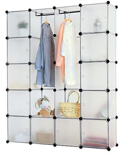 Kronenburg Regalsystem Steckregal Schrank Regal Kleiderschrank Garderobe - 184 x 148 x 37 cm - Transparent