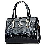 Milya Moderne Elegante Krokodilmuster Damen Tasche Henkeltasche Lackleder Frauen Handtasche Ledertasche Schultertasche Umhängetasche Abendtasche Schwarz