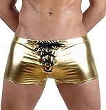 CHICTRY Wetlook Herren Boxershorts Lackleder Hose Trunk Unterhose Boxer Brief Pants Shorts Glänzend Männer Badehose mit Kordelzug Design Gold XXL