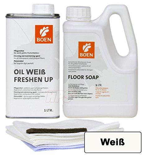 HPS® BOEN-Pflegeset für geöltes Parkett-WEIß Boen Parkett Seife- Boen Freshen Up WEIß inkl. Pflegetücher Set