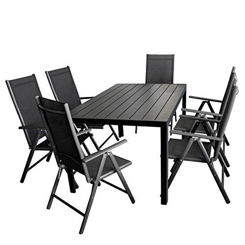 Ensemble de jardin table de jardin, cadre en aluminium, plaque en polywood Noir 150 x 90 cm + 6 x Fauteuil à dossier haut, armature en aluminium anthracite tressage textile noir