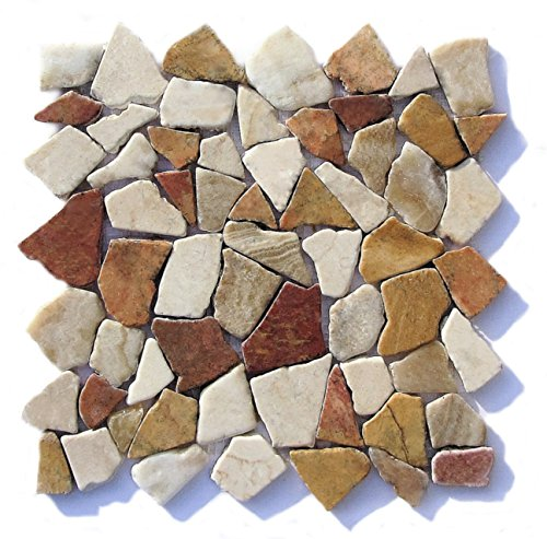 M-1-005 - 1 m² = 11 Fliesen - Natursteinmosaik Marmor Onyx Bruchstein Mosaikfliesen Fliesen Lager Verkauf Stein-Mosaik Herne NRW