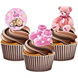 Adornos comestibles para cupcakes, diseño de niña (12unidades)