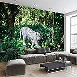 Mddjj Forest Animal Tiger Wallpaper Canvas Sofa Tv Sfondo Murale Foto Wallpaper Soggiorno Camera Da Letto Home Decor -350X245Cm