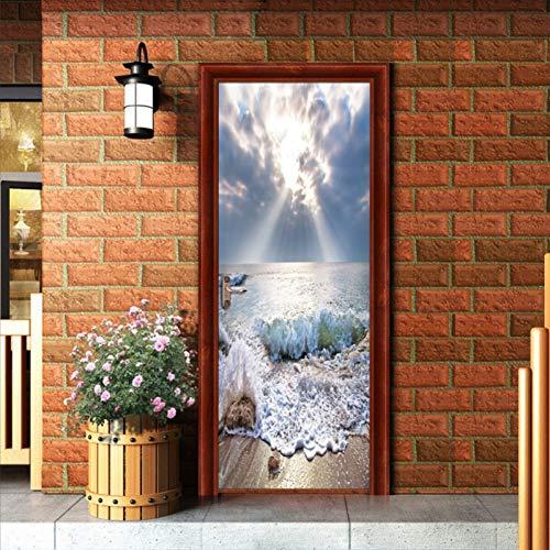 YOYODECOR Door Posters Selbstklebende PVC Tür Aufkleber 3D Sandy Beach Seascape Tapete Wandbild Schlafzimmer Tür Dekoration Aufkleber Wohnzimmer 77X200 cm (Beach Wood Flooring)