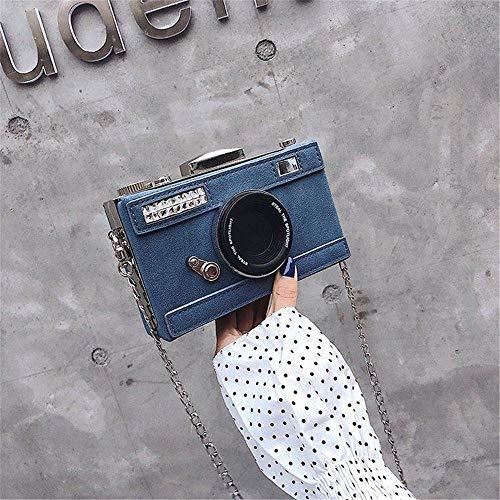 Kupplung personalisierte Design Mode Kamera Form Handtasche noppen Tasche umhängetasche Damen Casual Mini umhängetasche Brieftasche (Color : Blue, Size : A) (Billig Kupplung Brieftasche)