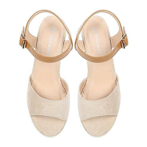 Ideal Shoes–Sandali compensate a Bout aperto e effetto camoscio anathalie Beige