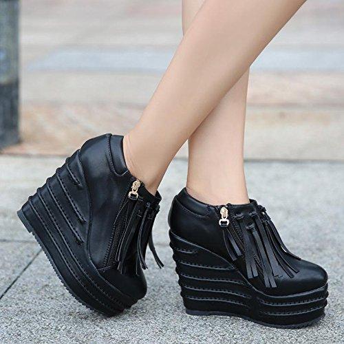 LvYuan Damen-Stiefeletten / Lackleder / Büro & Karriere / High Wedge Ferse / Comfort / Outdoor Casual Flatform Schuhe Black