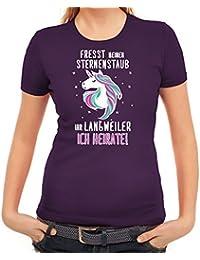 dedf236547ca8 Unicorn Junggesellinnenabschied JGA Damen Frauen T-Shirt Rundhals Einhorn -  Fresst…