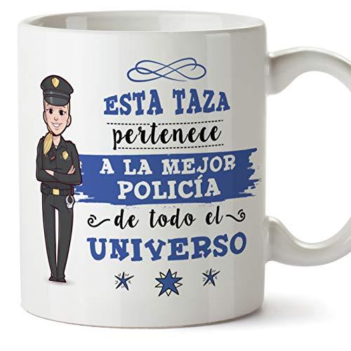 MUGFFINS policía. Tazas Originales de café y Desayuno para Regalar a Trabajadores Profesionales - Esta Taza Pertenece a la Mejor Policía del Universo - Cerámica 350 ml