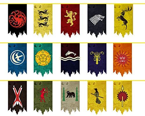 Juego de Tronos Banner Casa Banderas Sigil de Pared (15pcs 5m), Banderas Colgando de la Barra del Club salón decoración del Dormitorio