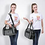 feandrea foldable pet dog carrier handbag with shoulder strap, for car, train and airplane travel, garbage bag included, grey, pdc42gy FEANDREA Pet Carrier, Dog Carrier, Pet Transport Bag, Black PDC42GY 51zbzjdq1sL