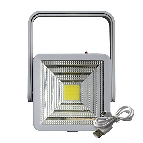 (OSALADI Tragbare Solar Camping Licht Wasserdichte Super Helle Wiederaufladbare Notfall Lampe mit USB Ladeanschluss für Camping Garten Pathway Street Yard Terrasse (weiß Gehäuse))