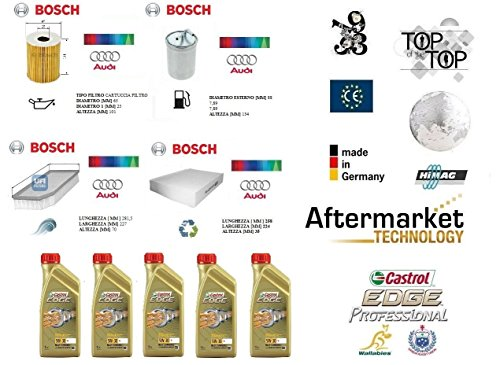 Kit filtri tagliando Bosch Audi A1 2.0 TDI 100 Kw + 5 Litri Olio Castrol 5W30