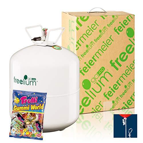 Freelium® go 410 - Helium / Ballongas to Go Flasche mit satten 0,41 m³ / 420 Liter + 50 Ballonbänder + Trolli Gummi World 230g für Hochzeit Valentinstag Trauung Taufe Kindergeburstag