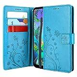 CMID LG Q60 Hülle, LG K50 Hülle, Ständer PU Leder Brieftasche Handytasche Flip Bookcase Schutzhülle Cover mit Handschlaufe für LG Q60 / LG K50 (Blau)