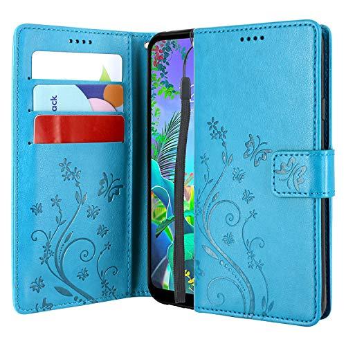 CMID LG Q60 Hülle, LG K50 Hülle, Ständer PU Leder Brieftasche Handytasche Flip Bookcase Schutzhülle Cover mit Handschlaufe für LG Q60 / LG K50 (Blau) -