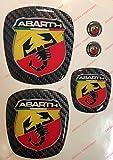 Logo vorne, hinten + Lenkrad + 2Wappen-Schlüsselanhänger. Für Motorhaube und Kofferraum. Aufkleber harzbeschichtet, Effekt 3d. Verzierungen Skorpion, Hintergrund Carbon