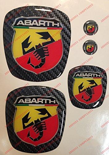 Logo Fiat 500Abarth vorne, hinten + Lenkrad + 2Wappen-Schlüsselanhänger. Für Motorhaube und Kofferraum. Aufkleber harzbeschichtet, Effekt 3d. Verzierungen Skorpion, Hintergrund Carbon