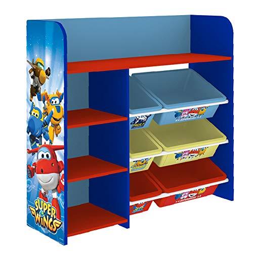 Style home Kinderregal Bücherregal Spielzeugregal Kinderzimmerregal mit Aufbewahrungsbox & Ablage Kinder Spielzeug-Organizer ''Super Wings'' C3DTJ003, 4 Fächer, Holz (Kinder-spielzeug-organizer-ablagen)
