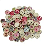 100x Demarkt Kinderknöpfe Buttons Wooden Buttons for Sewing and Crafting Craft Button Bunt Mix Scrapbooking Mischung